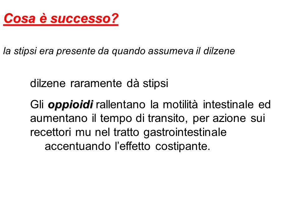Cosa è successo? la stipsi era presente da quando assumeva il dilzene dilzene raramente dà stipsi oppioidi Gli oppioidi rallentano la motilità intesti