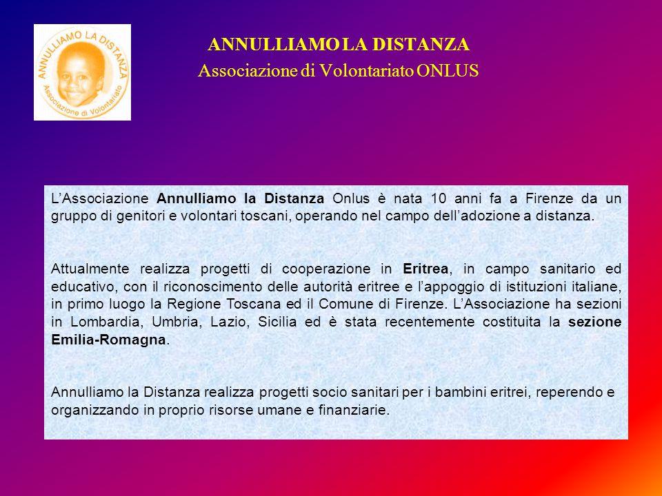 ANNULLIAMO LA DISTANZA Associazione di Volontariato ONLUS L'Associazione Annulliamo la Distanza Onlus è nata 10 anni fa a Firenze da un gruppo di genitori e volontari toscani, operando nel campo dell'adozione a distanza.