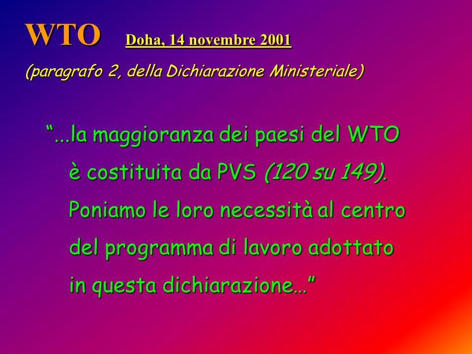 WTO Doha, 14 novembre 2001 (paragrafo 2, della Dichiarazione Ministeriale) ...la maggioranza dei paesi del WTO ...la maggioranza dei paesi del WTO è costituita da PVS (120 su 149).