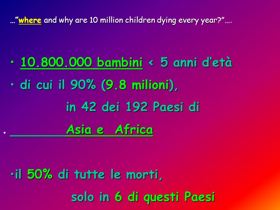 … where and why are 10 million children dying every year … where and why are 10 million children dying every year? ….