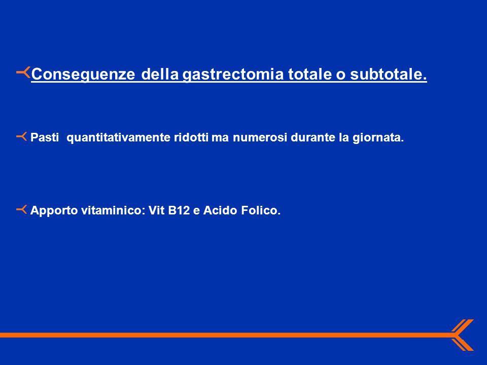 Conseguenze della gastrectomia totale o subtotale. Pasti quantitativamente ridotti ma numerosi durante la giornata. Apporto vitaminico: Vit B12 e Acid
