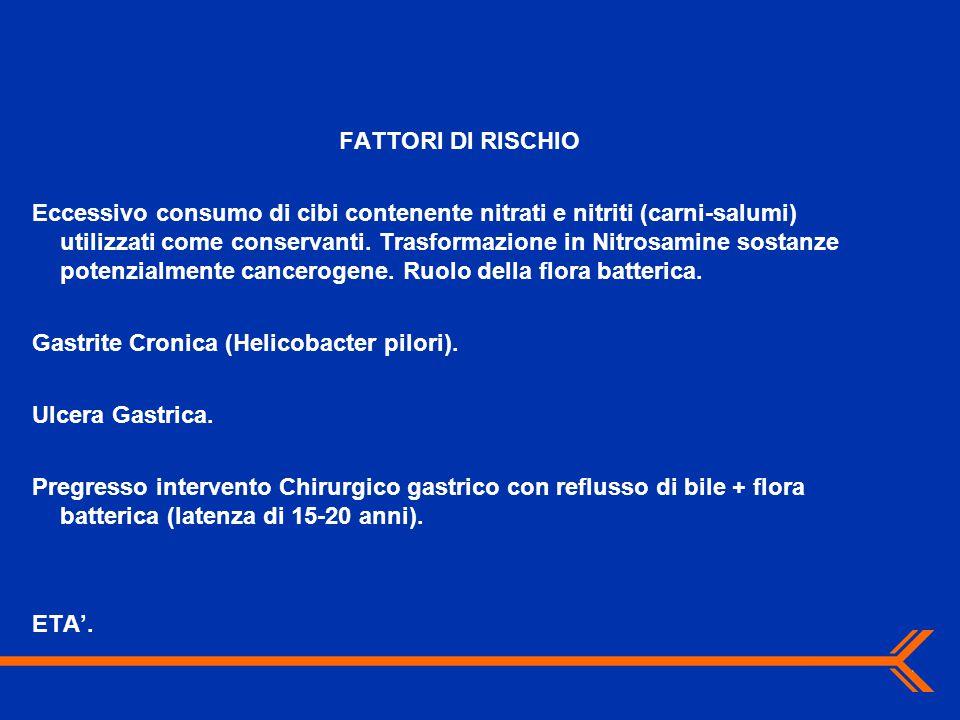 FATTORI DI RISCHIO Eccessivo consumo di cibi contenente nitrati e nitriti (carni-salumi) utilizzati come conservanti. Trasformazione in Nitrosamine so