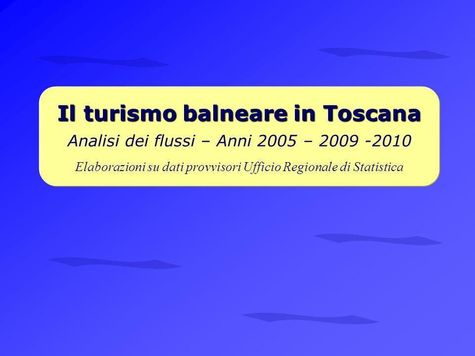 Il turismo balneare in Toscana Il turismo balneare in Toscana Analisi dei flussi – Anni 2005 – 2009 -2010 Elaborazioni su dati provvisori Ufficio Regionale di Statistica