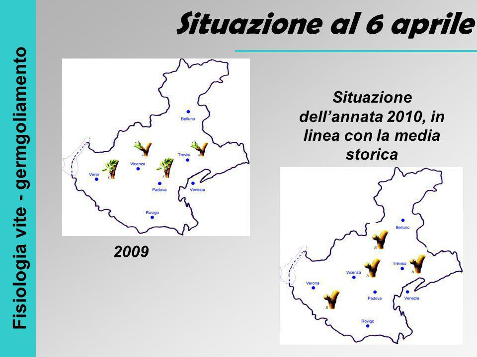 Fisiologia vite - germgoliamento Situazione al 6 aprile 2009 Situazione dell'annata 2010, in linea con la media storica