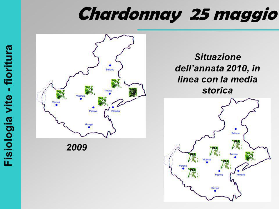Fisiologia vite - fioritura Chardonnay 25 maggio Situazione dell'annata 2010, in linea con la media storica 2009
