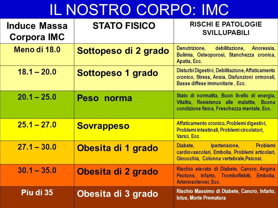 Induce Massa Corpora IMC STATO FISICO RISCHI E PATOLOGIE SVILLUPABILI Meno di 18.0 Sottopeso di 2 grado Denutrizione, debilitazione, Anoressia, Bulimi