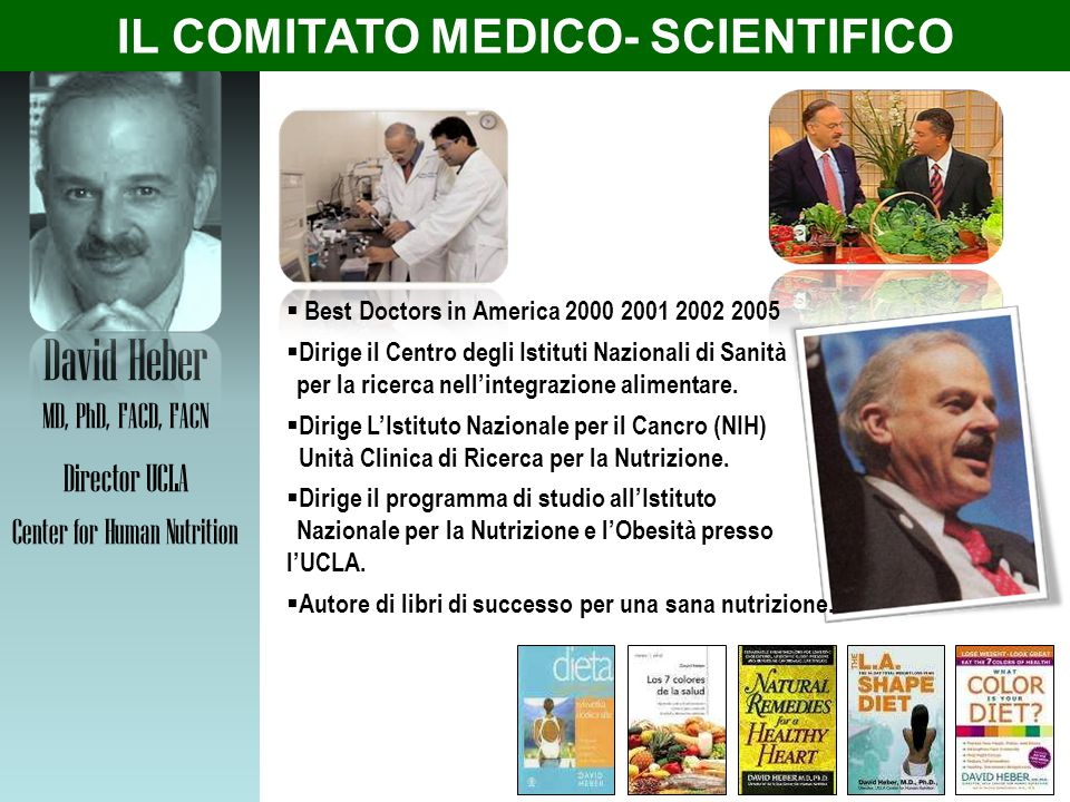 David Heber MD, PhD, FACD, FACN Director UCLA Center for Human Nutrition  Best Doctors in America 2000 2001 2002 2005  Dirige il Centro degli Istitu