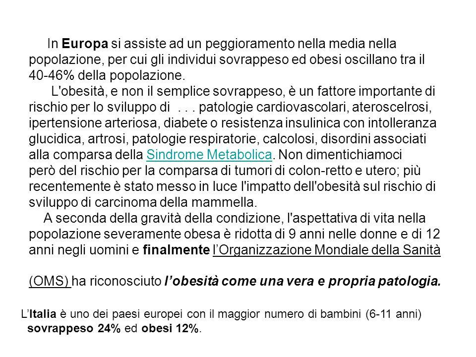 In Europa si assiste ad un peggioramento nella media nella popolazione, per cui gli individui sovrappeso ed obesi oscillano tra il 40-46% della popola