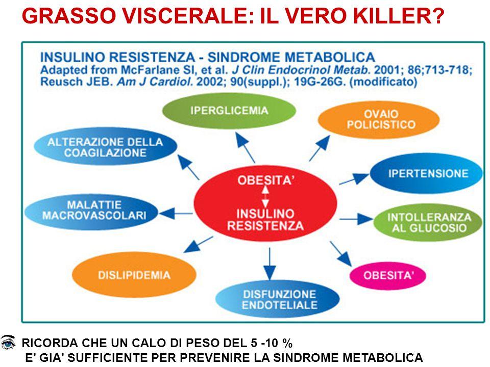 GRASSO VISCERALE: IL VERO KILLER? RICORDA CHE UN CALO DI PESO DEL 5 -10 % E' GIA' SUFFICIENTE PER PREVENIRE LA SINDROME METABOLICA
