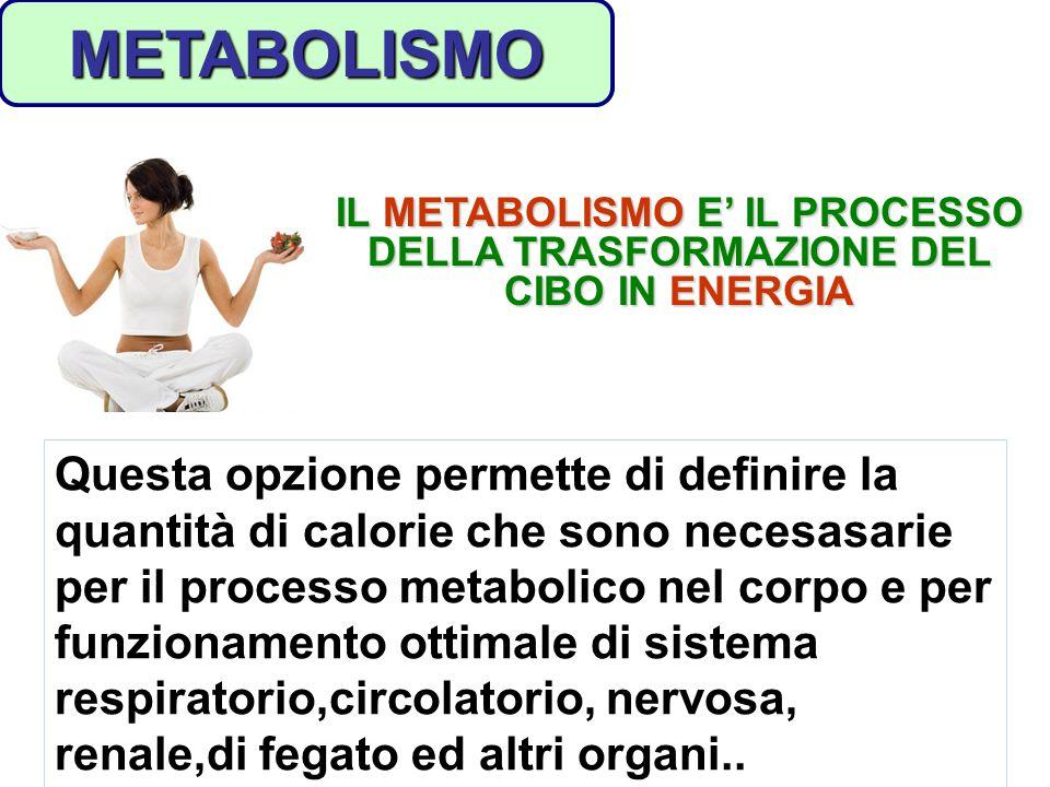 Questa opzione permette di definire la quantità di calorie che sono necesasarie per il processo metabolico nel corpo e per funzionamento ottimale di s
