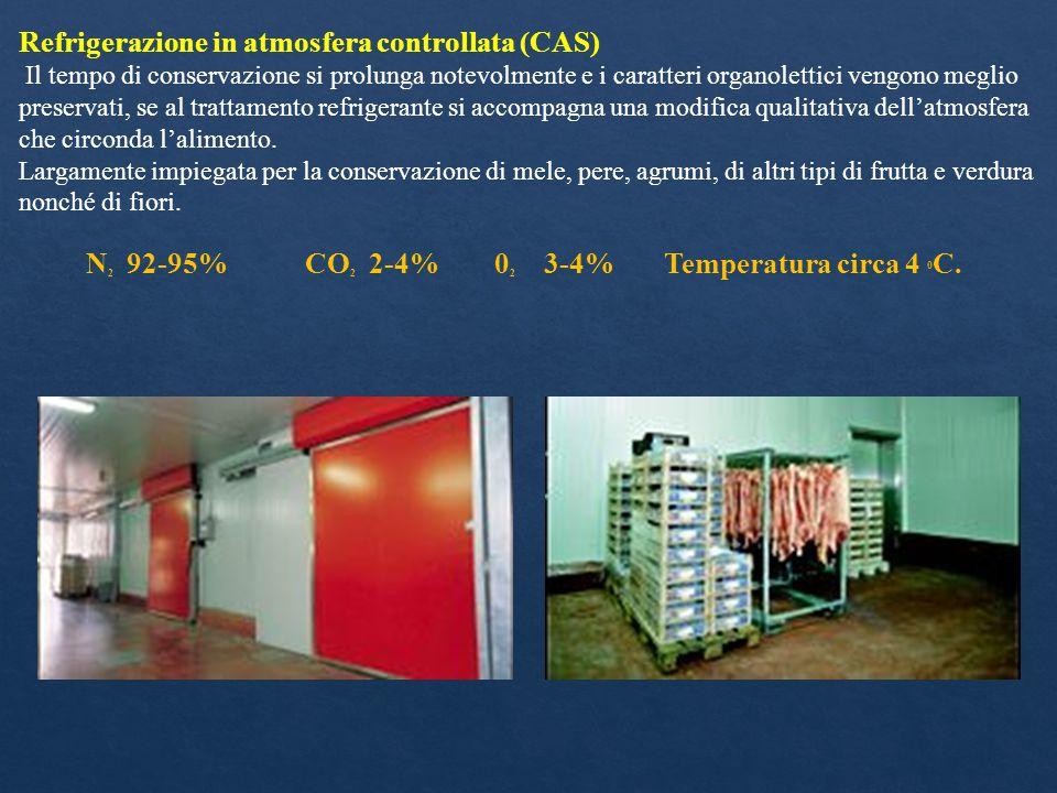 Refrigerazione in atmosfera controllata (CAS) Il tempo di conservazione si prolunga notevolmente e i caratteri organolettici vengono meglio preservati