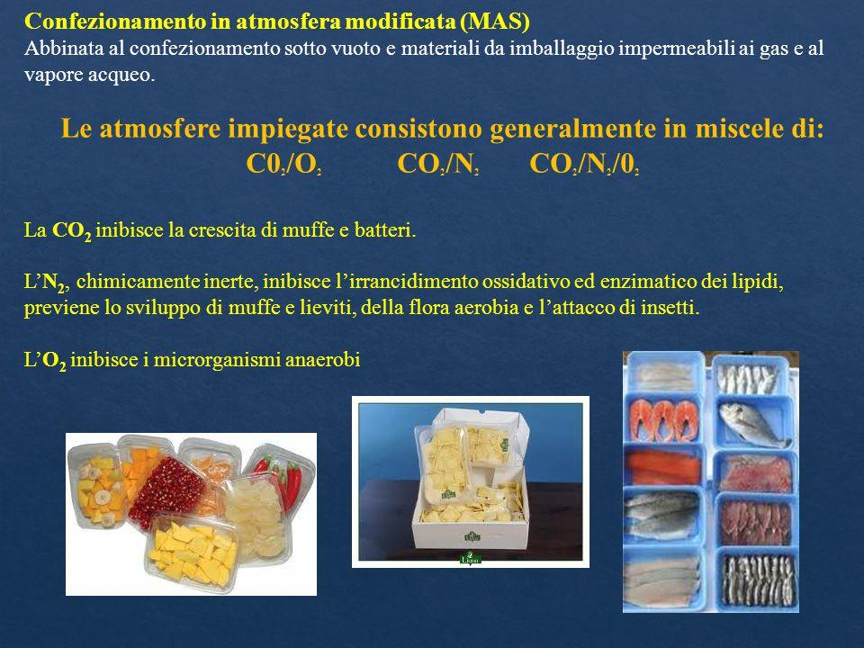 Confezionamento in atmosfera modificata (MAS) Abbinata al confezionamento sotto vuoto e materiali da imballaggio impermeabili ai gas e al vapore acque