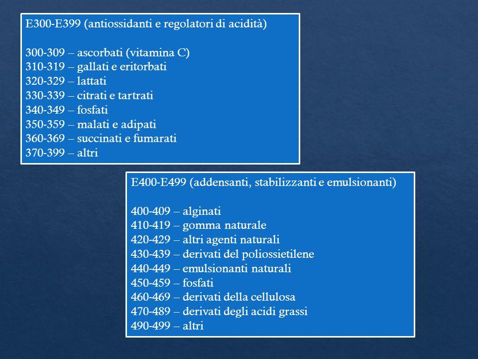E300-E399 (antiossidanti e regolatori di acidità) 300-309 – ascorbati (vitamina C) 310-319 – gallati e eritorbati 320-329 – lattati 330-339 – citrati
