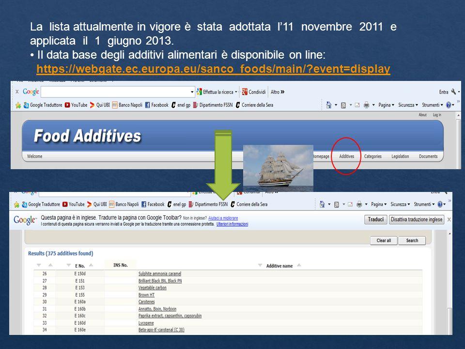 La lista attualmente in vigore è stata adottata l'11 novembre 2011 e applicata il 1 giugno 2013. Il data base degli additivi alimentari è disponibile