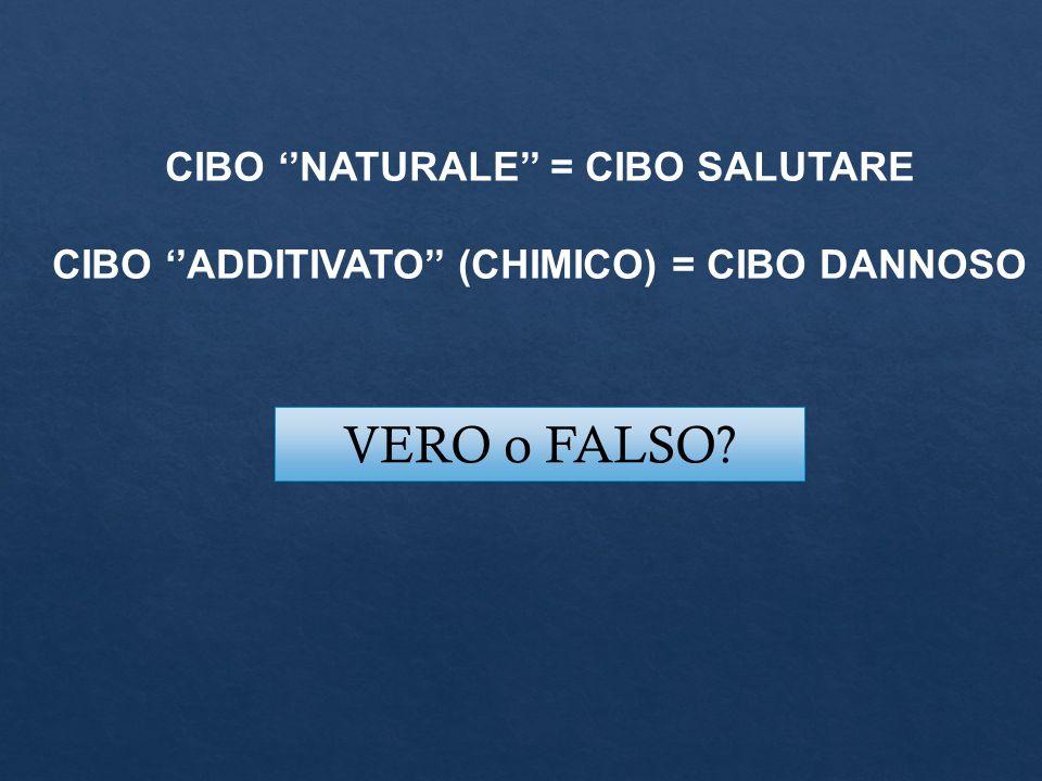 VERO o FALSO? CIBO ''NATURALE'' = CIBO SALUTARE CIBO ''ADDITIVATO'' (CHIMICO) = CIBO DANNOSO
