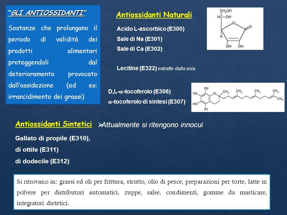 Antiossidanti Naturali Acido L-ascorbico (E300) Sale di Na (E301) Sale di Ca (E302) D,L-  -tocoferolo (E306)  -tocoferolo di sintesi (E307) GLI ANTI