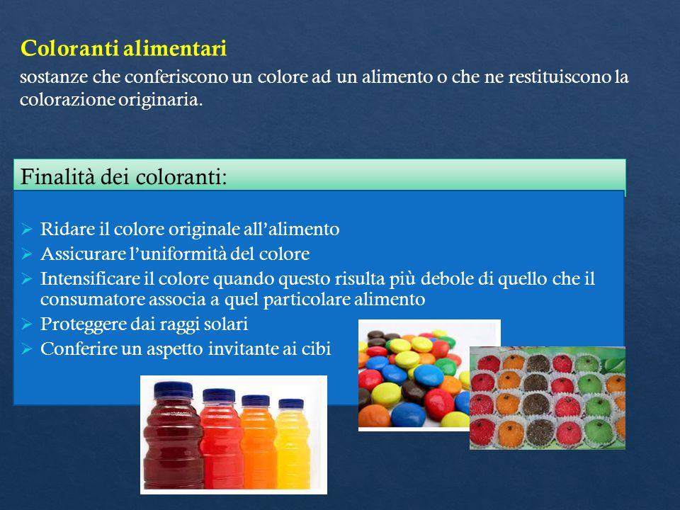 Coloranti alimentari sostanze che conferiscono un colore ad un alimento o che ne restituiscono la colorazione originaria. Finalità dei coloranti:  Ri