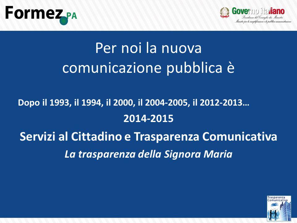 Per noi la nuova comunicazione pubblica è Dopo il 1993, il 1994, il 2000, il 2004-2005, il 2012-2013… 2014-2015 Servizi al Cittadino e Trasparenza Comunicativa La trasparenza della Signora Maria