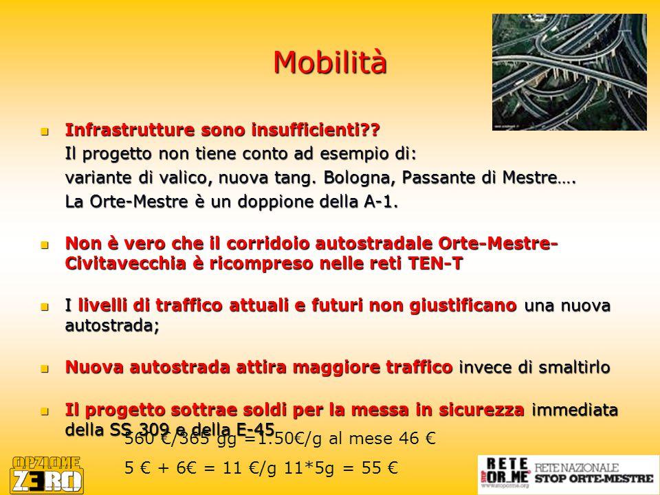 Mobilità Infrastrutture sono insufficienti . Infrastrutture sono insufficienti .
