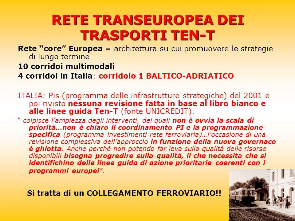 RETE TRANSEUROPEA DEI TRASPORTI TEN-T Rete core Europea = architettura su cui promuovere le strategie di lungo termine 10 corridoi multimodali 4 corridoi in Italia: corridoio 1 BALTICO-ADRIATICO ITALIA: Pis (programma delle infrastrutture strategiche) del 2001 e poi rivisto nessuna revisione fatta in base al libro bianco e alle linee guida Ten-T (fonte UNICREDIT).