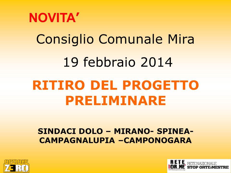 Consiglio Comunale Mira 19 febbraio 2014 RITIRO DEL PROGETTO PRELIMINARE SINDACI DOLO – MIRANO- SPINEA- CAMPAGNALUPIA –CAMPONOGARA NOVITA '