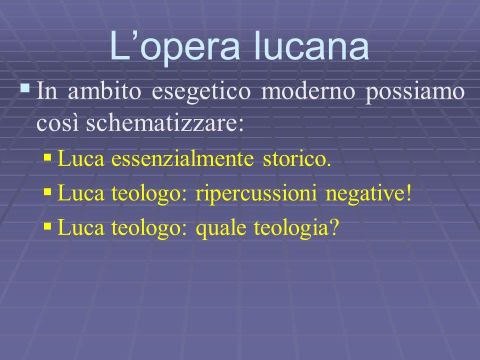   In ambito esegetico moderno possiamo così schematizzare:   Luca essenzialmente storico.   Luca teologo: ripercussioni negative!   Luca teolo