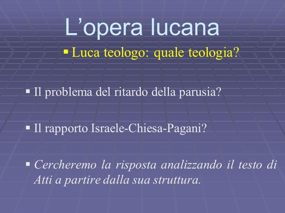   Luca teologo: quale teologia?   Il problema del ritardo della parusia?   Il rapporto Israele-Chiesa-Pagani?   Cercheremo la risposta analizz