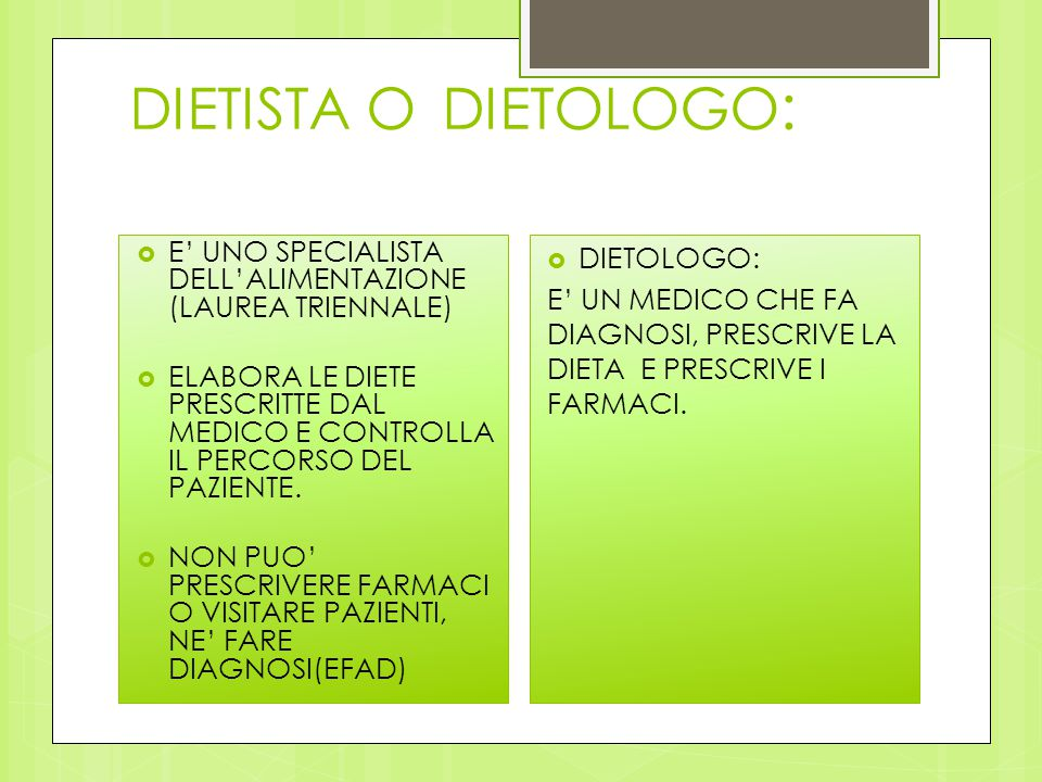 CHI E' IL NUTRIZIONISTA E COSA FA  LAUREATO IN BIOLOGIA (LAUREA MAGISTRALE) PERFEZIONATO O SPECIALIZZATO IN NUTRIZIONE  VALUTA I BISOGNI NUTRITIVI  PRESCRIVE LE OPPORTUNE DIETE  SOSTIENE ED EDUCA LA PERSONA A RITROVARE L'AUTOREGOLAZIONE PRESENTE IN CIASCUNO DI NOI FIN DALLA NASCITA E CHE CI PERMETTE DI COMPIERE SCELTE EQUILIBRATE E RAGIONATE.