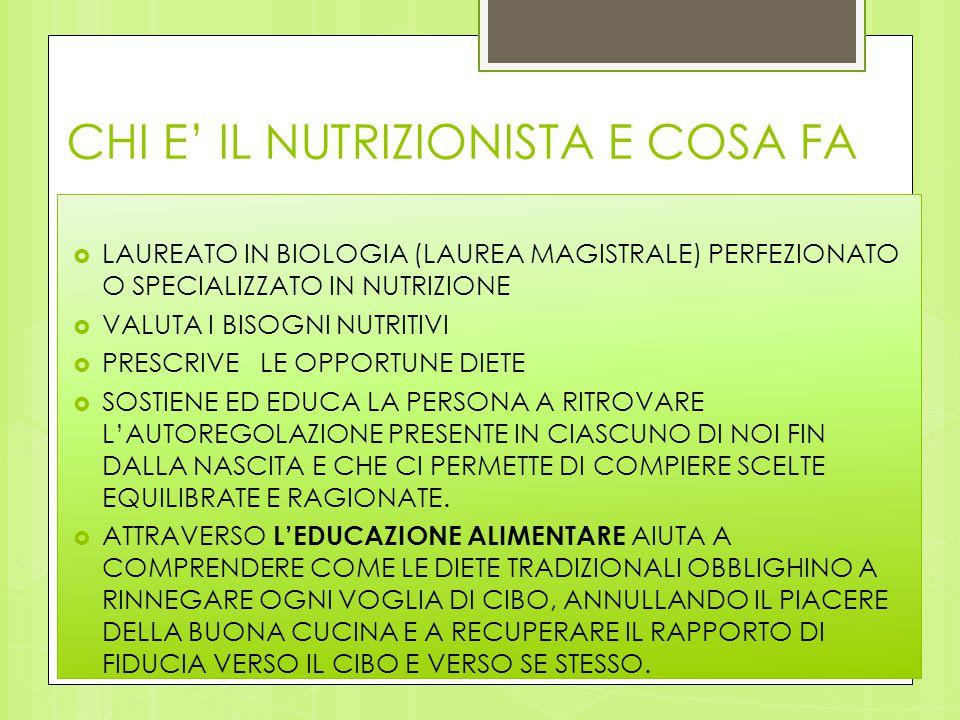 CHI E' IL NUTRIZIONISTA E COSA FA  LAUREATO IN BIOLOGIA (LAUREA MAGISTRALE) PERFEZIONATO O SPECIALIZZATO IN NUTRIZIONE  VALUTA I BISOGNI NUTRITIVI 