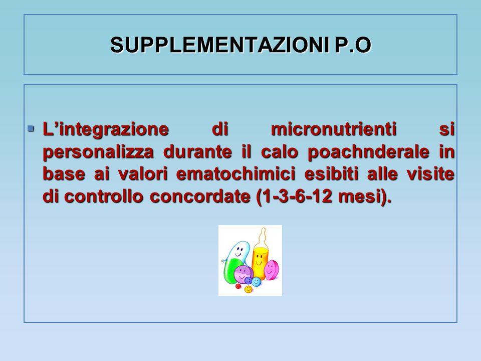SUPPLEMENTAZIONI P.O  L'integrazione di micronutrienti si personalizza durante il calo poachnderale in base ai valori ematochimici esibiti alle visit