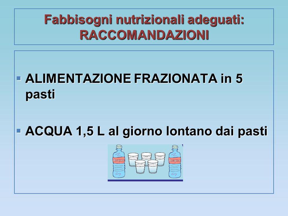 Fabbisogni nutrizionali adeguati: RACCOMANDAZIONI  ALIMENTAZIONE FRAZIONATA in 5 pasti  ACQUA 1,5 L al giorno lontano dai pasti