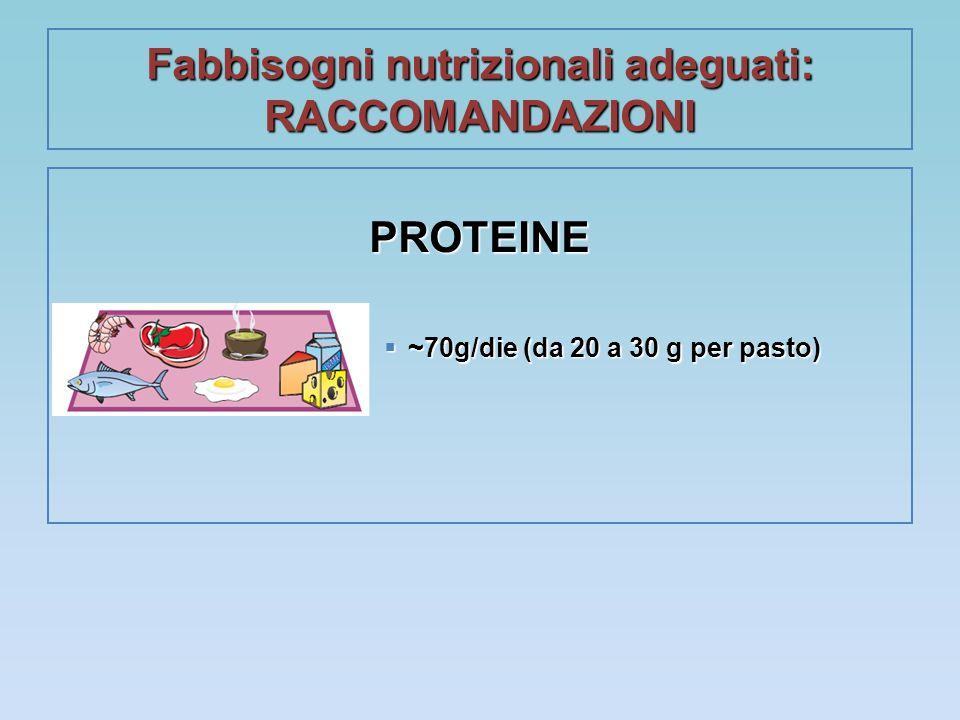 Fabbisogni nutrizionali adeguati: RACCOMANDAZIONI PROTEINE  ~70g/die (da 20 a 30 g per pasto)