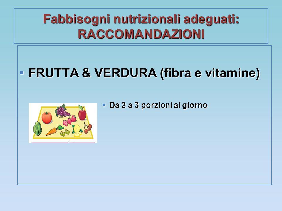 Fabbisogni nutrizionali adeguati: RACCOMANDAZIONI  FRUTTA & VERDURA (fibra e vitamine)  Da 2 a 3 porzioni al giorno