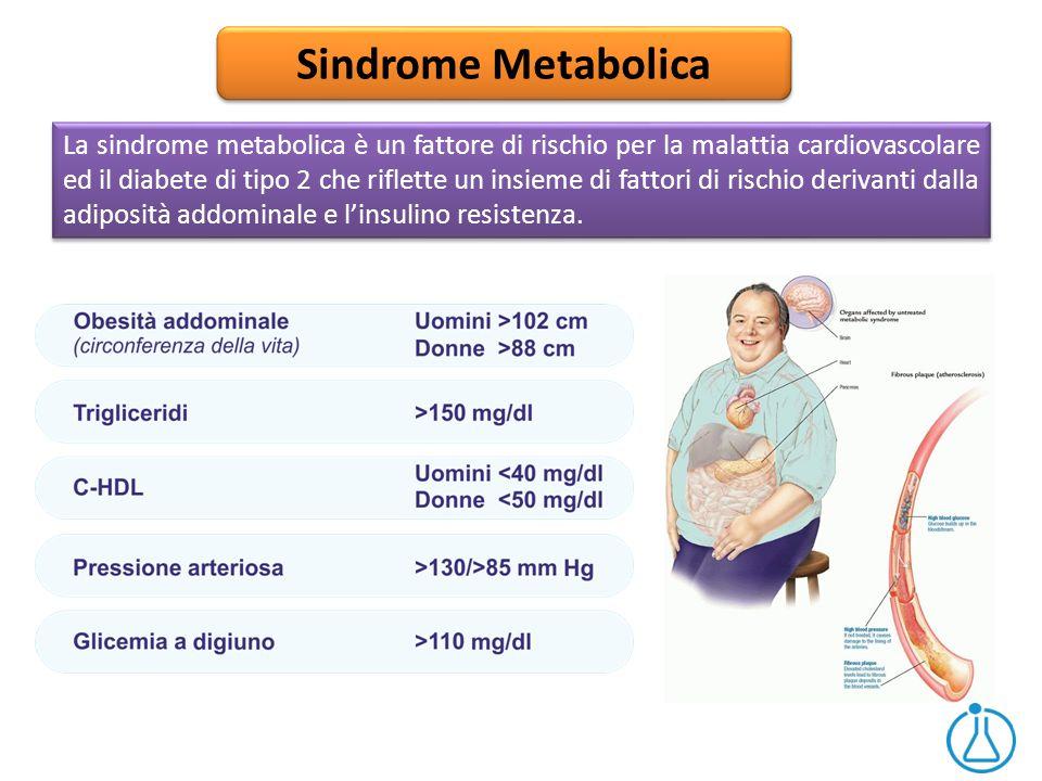 Sindrome Metabolica La sindrome metabolica è un fattore di rischio per la malattia cardiovascolare ed il diabete di tipo 2 che riflette un insieme di