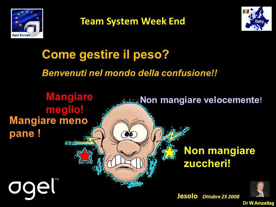 Dr W.Amzallag Jesolo Ottobre 25 2008 5 Team System Week End Mangiare meglio! Mangiare meno pane ! Non mangiare velocemente ! Non mangiare zuccheri! Co