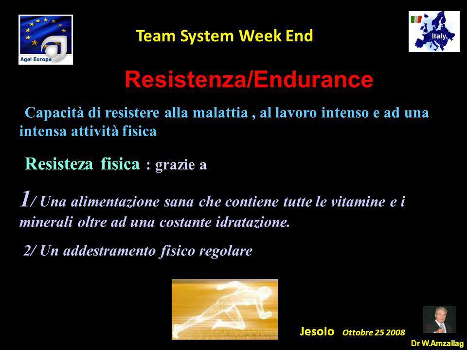 Dr W.Amzallag Jesolo Ottobre 25 2008 5 Team System Week End Resistenza/Endurance -Capacità di resistere alla malattia, al lavoro intenso e ad una intensa attività fisica - Resisteza fisica : grazie a 1 / Una alimentazione sana che contiene tutte le vitamine e i minerali oltre ad una costante idratazione.