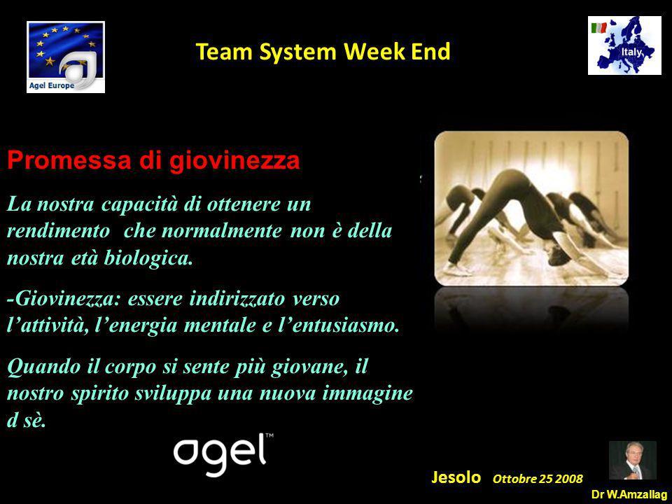 Dr W.Amzallag Jesolo Ottobre 25 2008 5 Team System Week End Promessa di giovinezza La nostra capacità di ottenere un rendimento che normalmente non è della nostra età biologica.