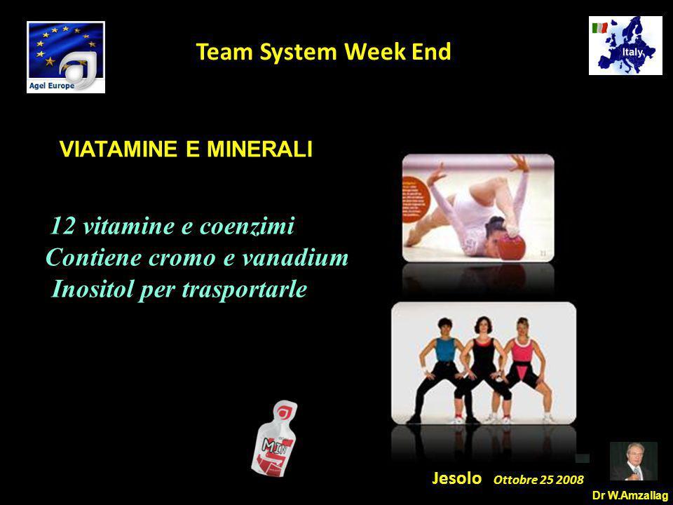 Dr W.Amzallag Jesolo Ottobre 25 2008 5 Team System Week End VIATAMINE E MINERALI. 12 vitamine e coenzimi Contiene cromo e vanadium Inositol per traspo