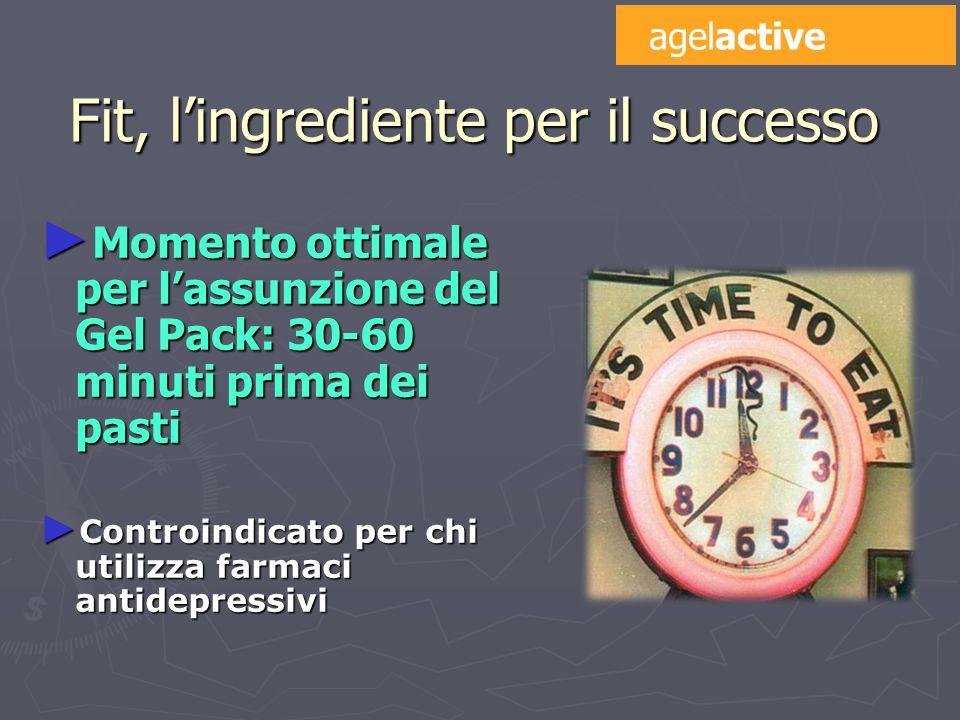 Fit, l'ingrediente per il successo ► Momento ottimale per l'assunzione del Gel Pack: 30-60 minuti prima dei pasti ► Controindicato per chi utilizza farmaci antidepressivi agelactive