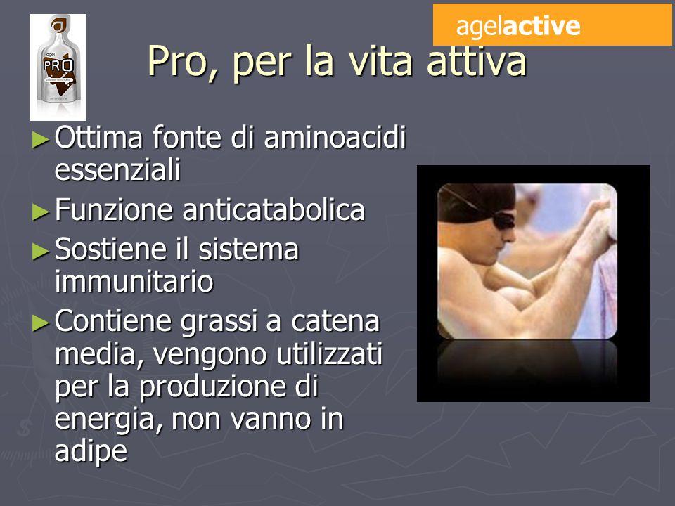 Pro, per la vita attiva ► Ottima fonte di aminoacidi essenziali ► Funzione anticatabolica ► Sostiene il sistema immunitario ► Contiene grassi a catena media, vengono utilizzati per la produzione di energia, non vanno in adipe agelactive