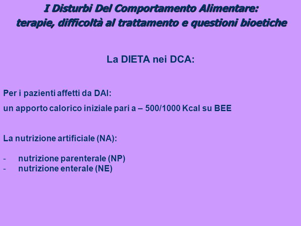 I Disturbi Del Comportamento Alimentare: terapie, difficoltà al trattamento e questioni bioetiche La DIETA nei DCA: Per i pazienti affetti da DAI: un