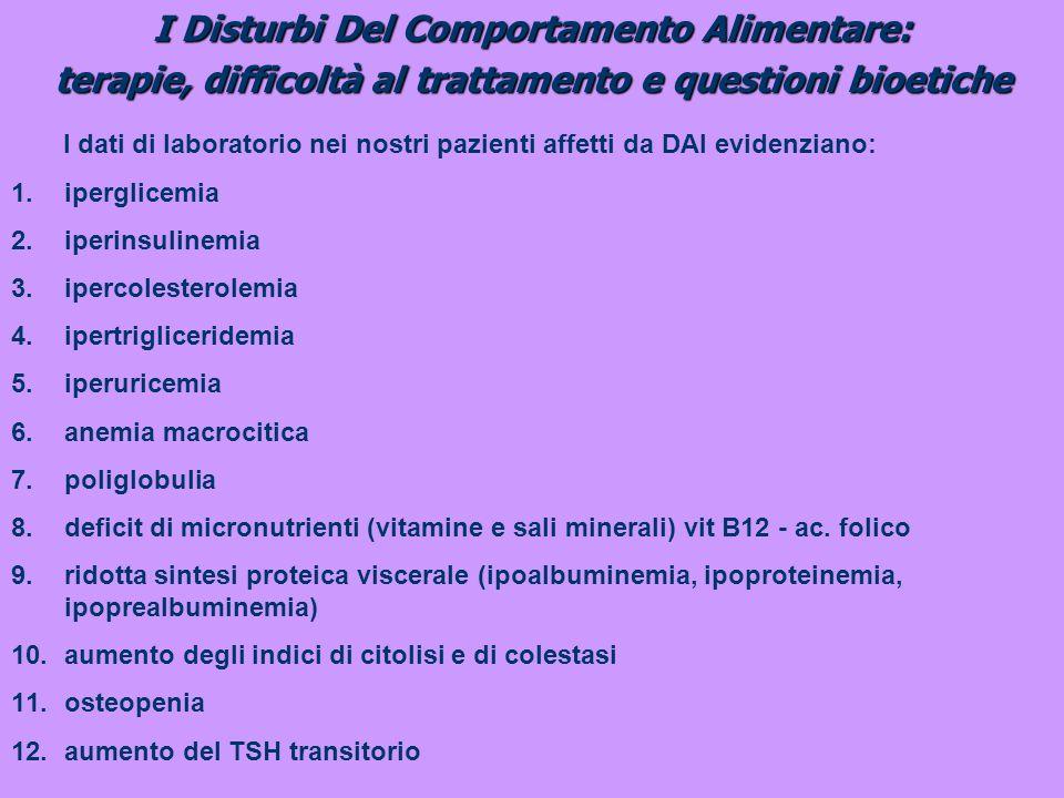 I Disturbi Del Comportamento Alimentare: terapie, difficoltà al trattamento e questioni bioetiche I dati di laboratorio nei nostri pazienti affetti da