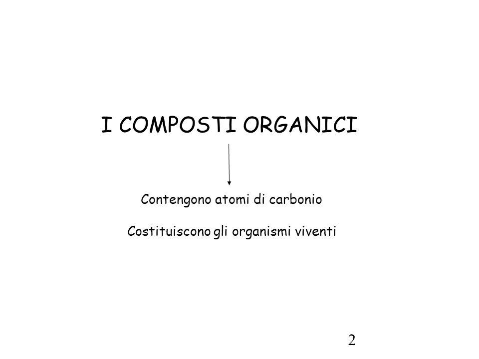 2 I COMPOSTI ORGANICI Contengono atomi di carbonio Costituiscono gli organismi viventi