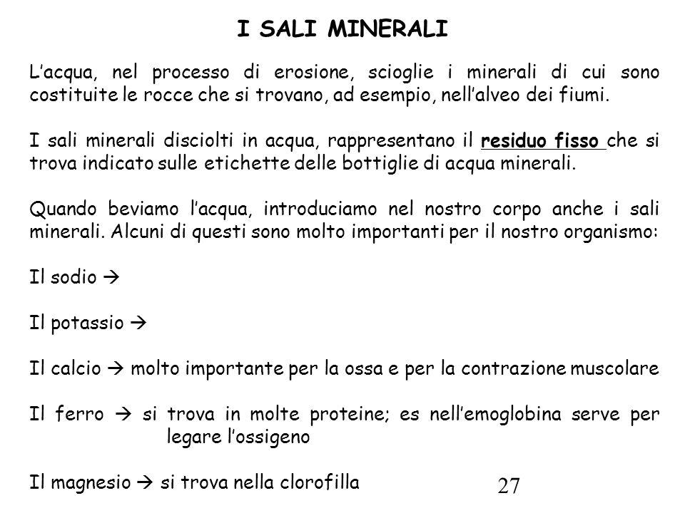 27 I SALI MINERALI L'acqua, nel processo di erosione, scioglie i minerali di cui sono costituite le rocce che si trovano, ad esempio, nell'alveo dei fiumi.