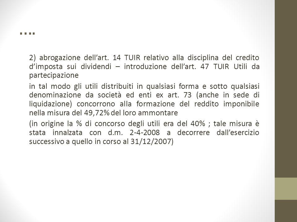 …. 2) abrogazione dell'art. 14 TUIR relativo alla disciplina del credito d'imposta sui dividendi – introduzione dell'art. 47 TUIR Utili da partecipazi