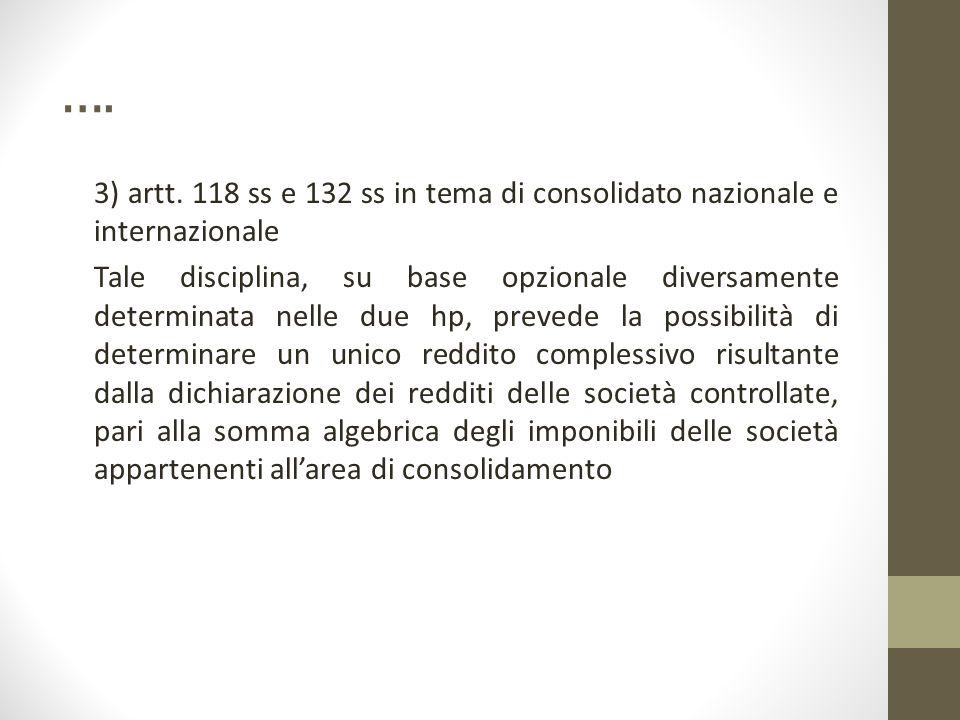 …. 3) artt. 118 ss e 132 ss in tema di consolidato nazionale e internazionale Tale disciplina, su base opzionale diversamente determinata nelle due hp