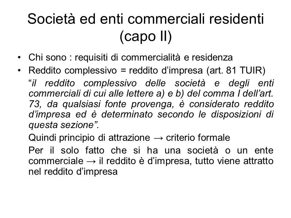 Società ed enti commerciali residenti (capo II) Chi sono : requisiti di commercialità e residenza Reddito complessivo = reddito d'impresa (art.