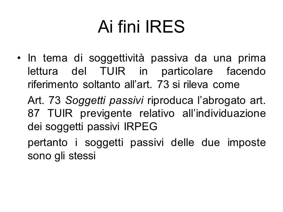Ai fini IRES In tema di soggettività passiva da una prima lettura del TUIR in particolare facendo riferimento soltanto all'art.