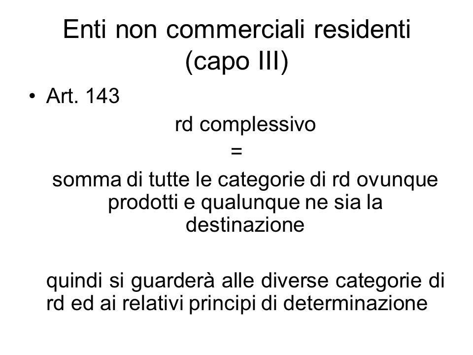 Enti non commerciali residenti (capo III) Art.
