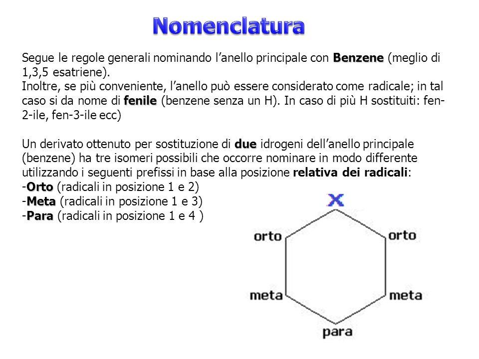 Benzene Segue le regole generali nominando l'anello principale con Benzene (meglio di 1,3,5 esatriene). fenile Inoltre, se più conveniente, l'anello p